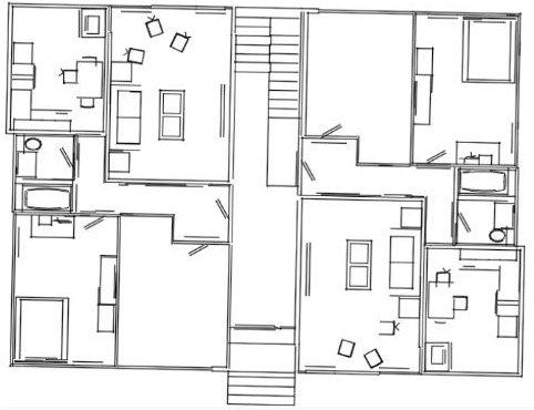 Floor Plan Of Apartment Building 2 Units, 1 Floor Done On AutoCAD.