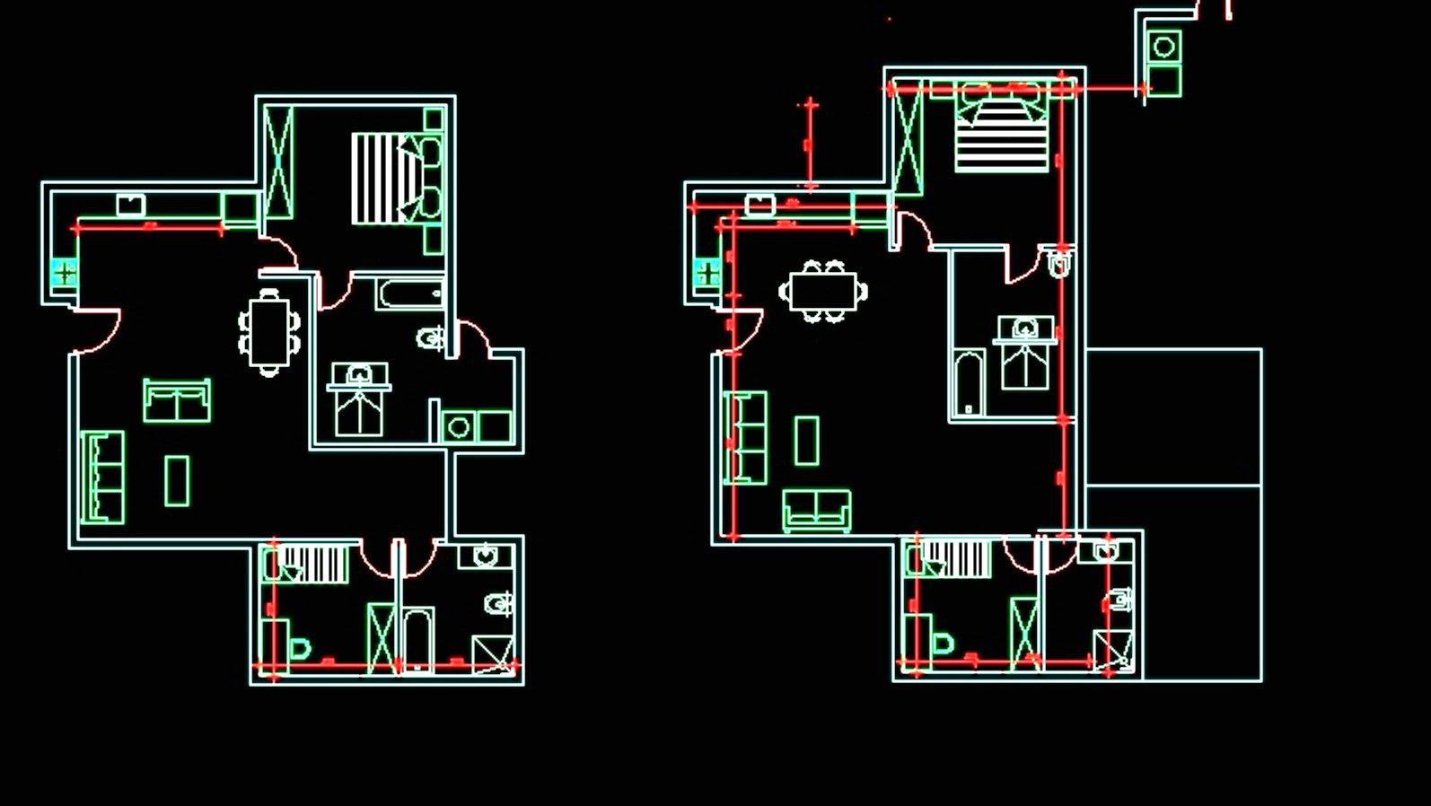 Architectural floor plans of a home/ office.